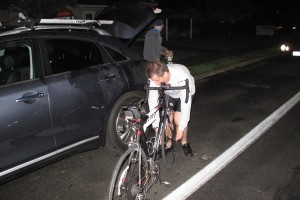 Unracking the Bike from the Car and putting the wheel back on