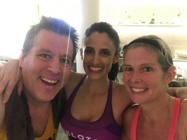 The aforementioned selfie with friend and a Peloton instructor